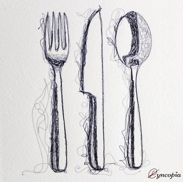 Embroidery Design Cutlery scribble