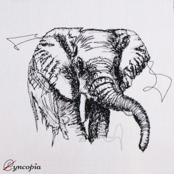 Embroidery Design Elephant scribble