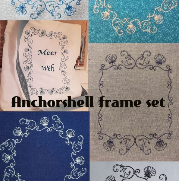 Embroidery Design Anchor Shell Frame Set