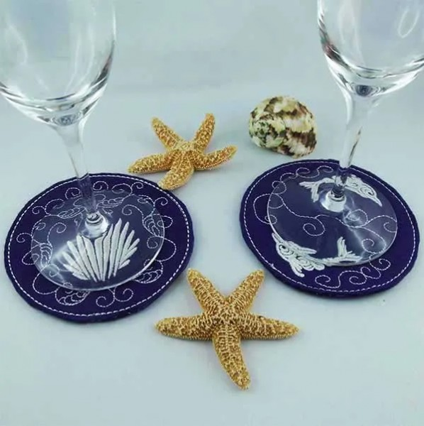 Embroidery Design Shell Dolphin Coaster ITH