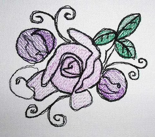 Stickdatei Rose mit Knospe drawn