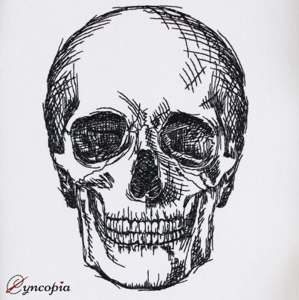Embroidery Design Skull Hatching
