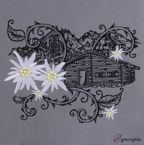 Embroidery Design Edelweiß Mountain Hut romantic