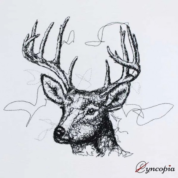 Embroidery Design Deer Head Scribble