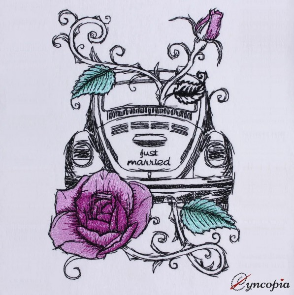 Embroidery Design Car Wedding Rose romantic