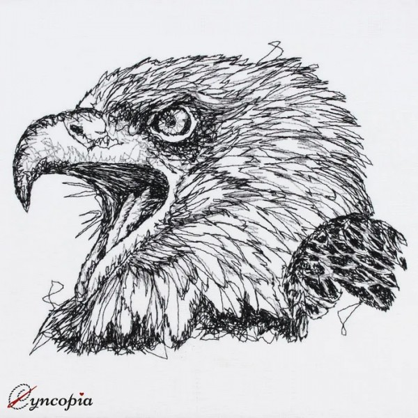 Embroidery Design Eagle Head Scribble