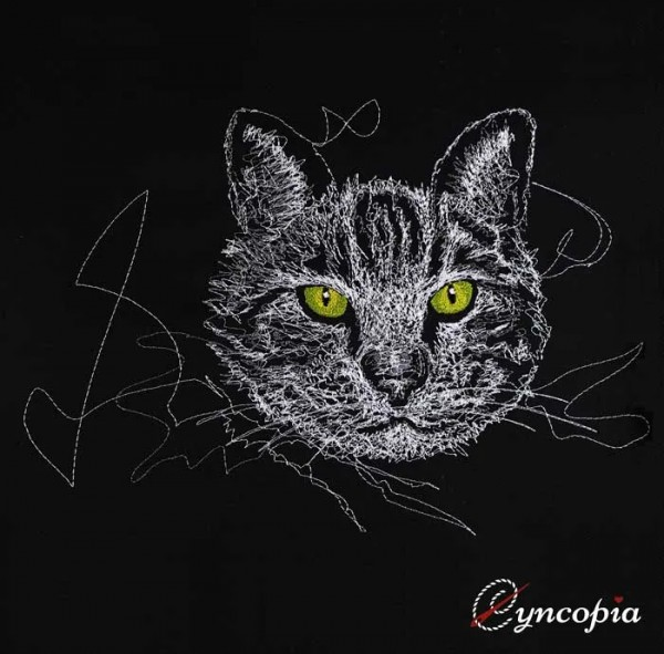 Embroidery Design Cat in Black Scribble