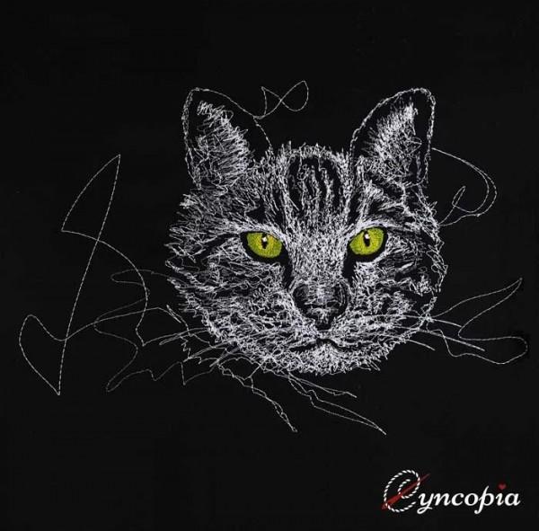Stickdatei Katze in schwarz scribble