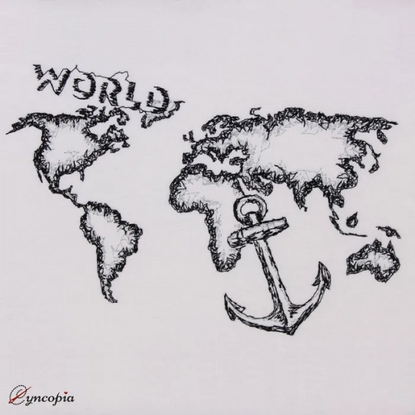 Embroidery Design World Map Scribble