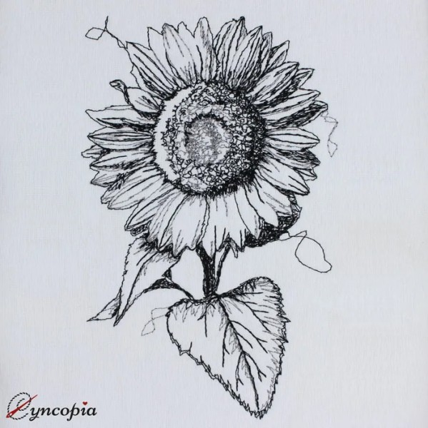 Embroidery Design Sunflower Scribble