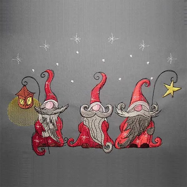 Embroidery Design Three Christmas Gnomes
