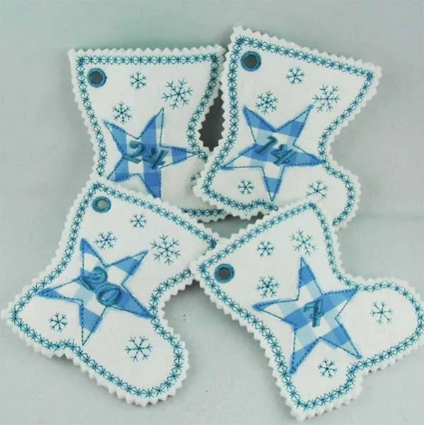 Embroidery Design Boots advent Calendar ITH Doodle