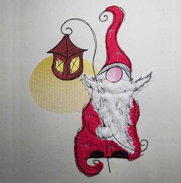 Christmas Gnome Drawing.Embroidery Design Christmas Gnome Lantern Doodle