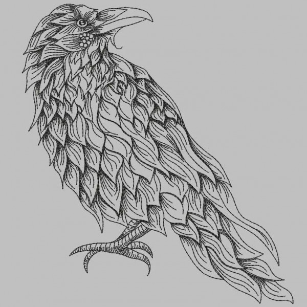 Embroidery Design Feathery Raven