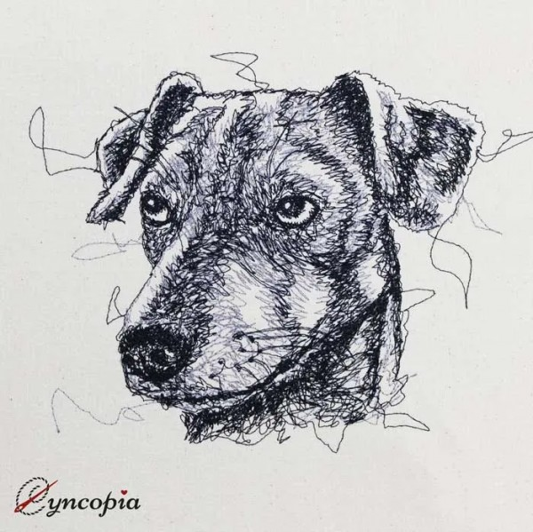 Embroidery Design Jack Russel Terrier Scribble