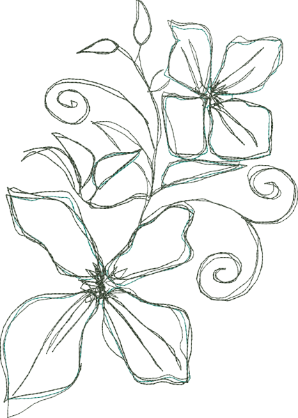 Embroidery Design Clematis Doodle