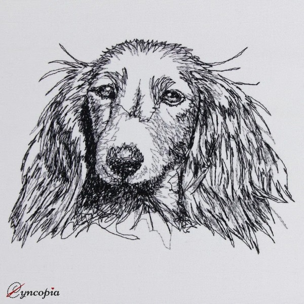 Embroidery Design Long-haired Dachshund scribble