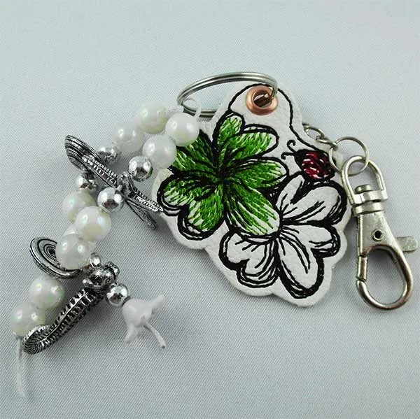 Embroidery Design Lucky Clover Key Fob ITH
