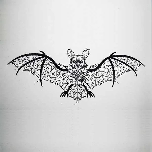 Embroidery Design Furled Bat