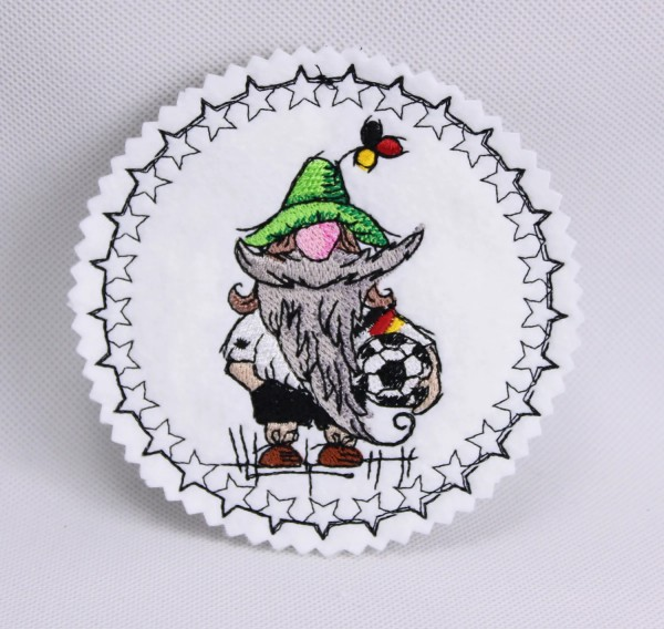 Embroidery Design Soccer Gnome Coaster ITH
