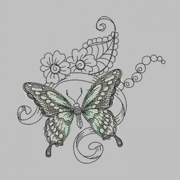 Stickdatei Grüner Schmetterling springtime