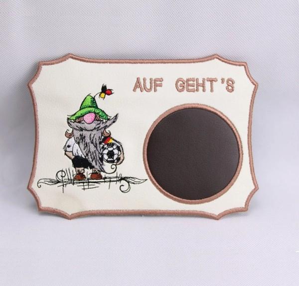 Embroidery Design Soccer Gnome MugRug ITH