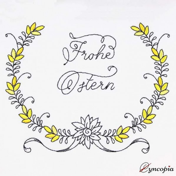 Embroidery Design Lettering Frohe Ostern