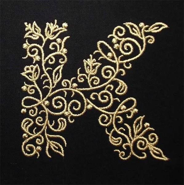 Embroidery Design K Fine Ornament
