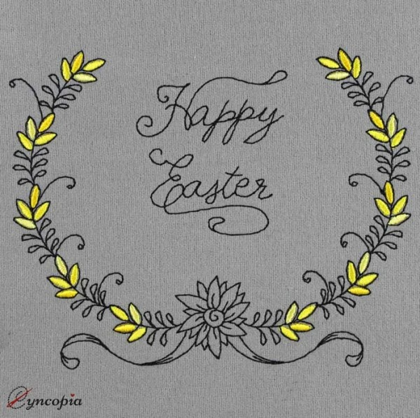 Embroidery Design Lettering Happy Easter