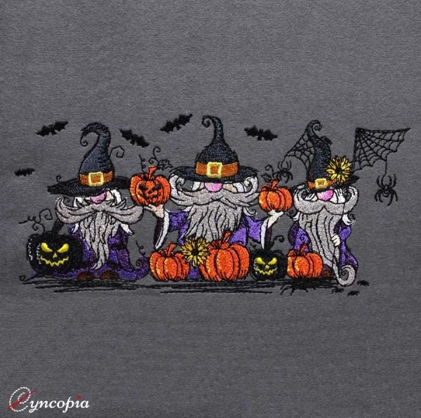 Motif de Broderie Trois Gnomes d'Halloween