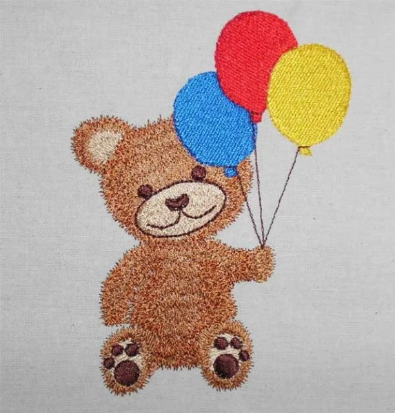 Embroidery Design Teddy with Balloon