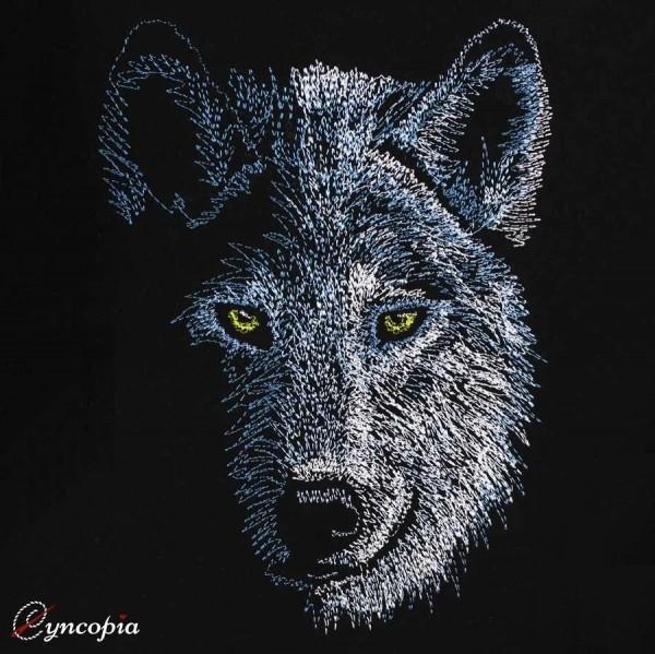 Embroidery Design Wolf on black half