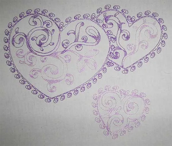 Embroidery Design Three Hearts Redwork