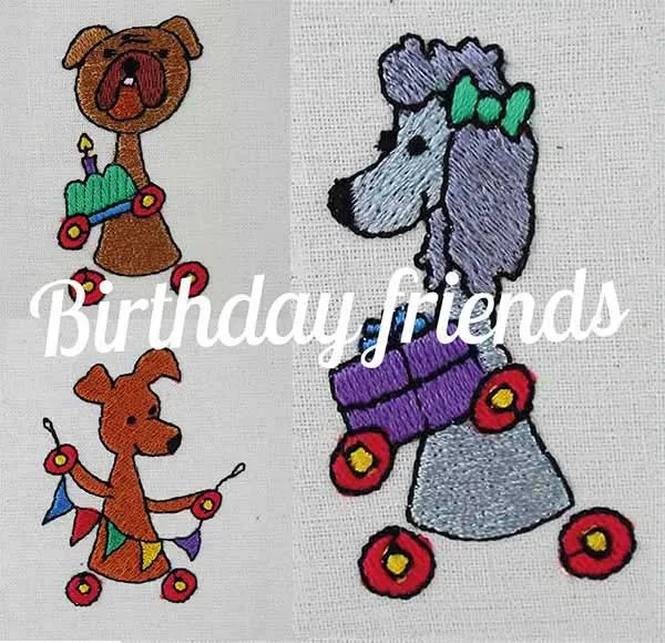 Embroidery Design Birthday Friends