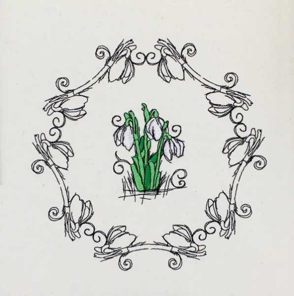 Embroidery Design Snowdrops Romantic