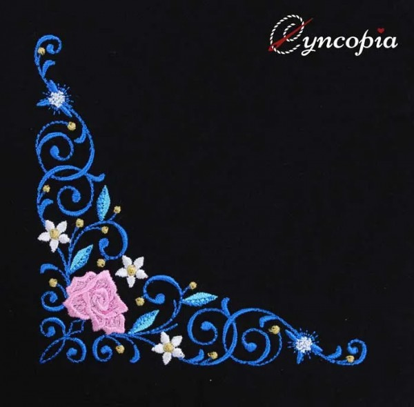 Embroidery Design Flower Ornament Corner