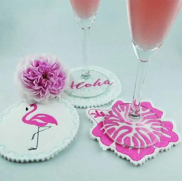 Fichier Broderie Alhoa Flamant Rose Coaster ITH
