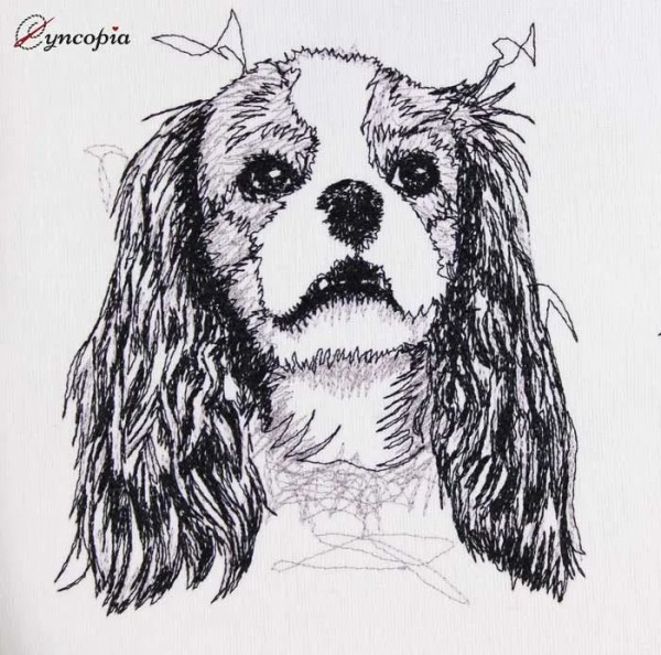 Embroidery Design Cavalier King Charles Scribble