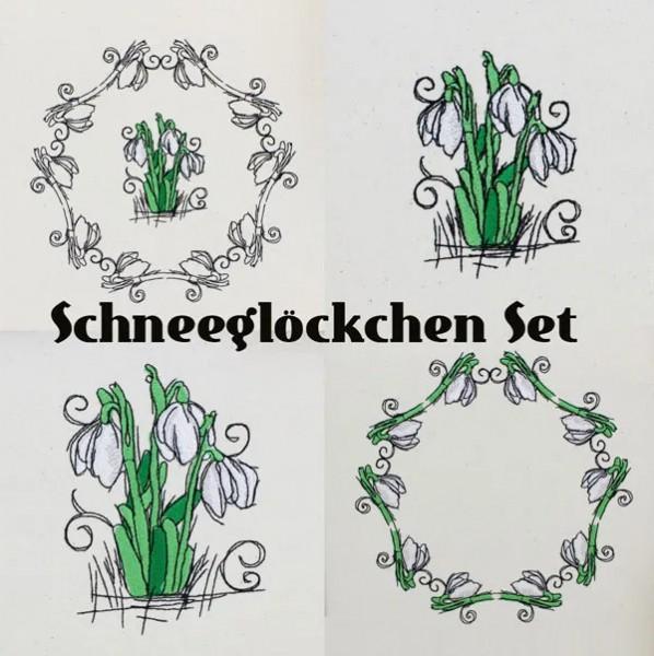 Embroidery Design Snowdrops Romantic Set