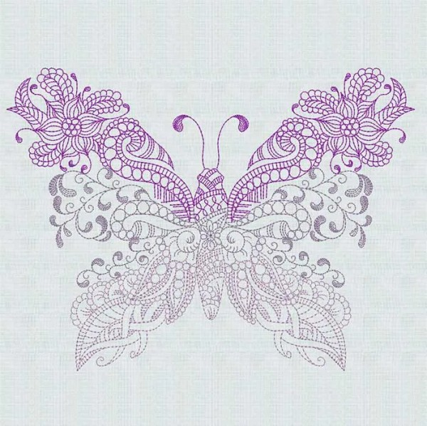 Embroidery Design Butterfly zendoodle