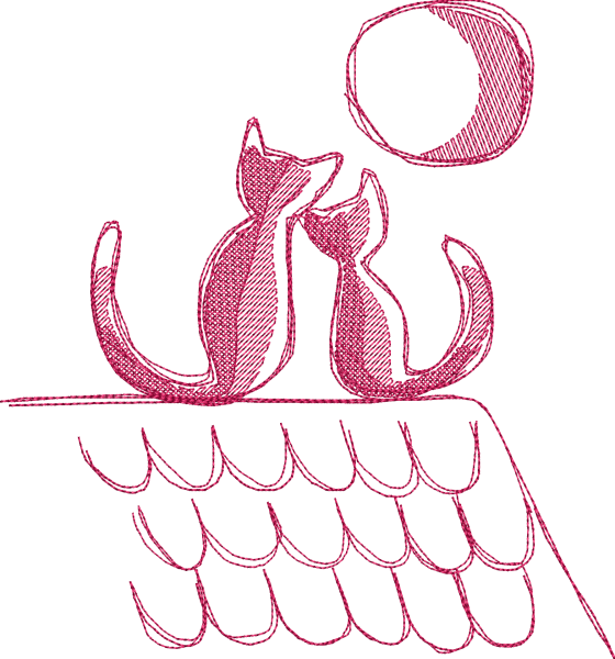 Embroidery Design Cats on Roof