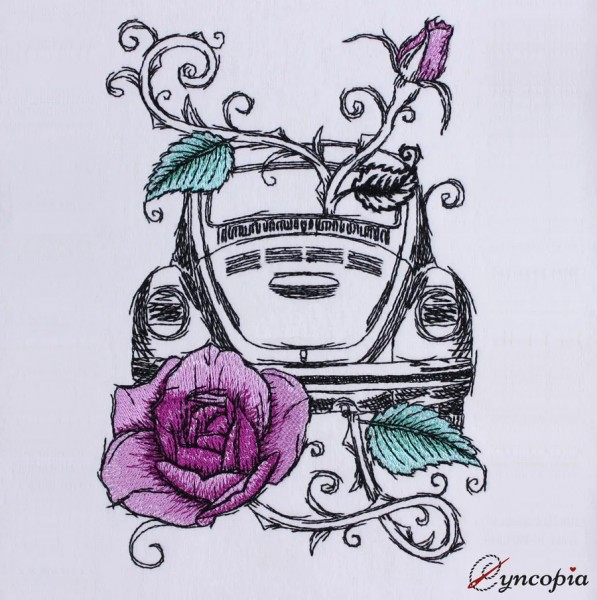 Embroidery Design Car Beetle Rose romantic
