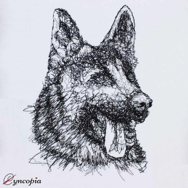 Embroidery Design Shepherd Dog with Tongue scribble