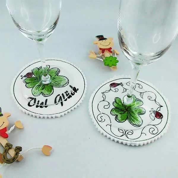 Embroidery Design Lucky Clover Coaster ITH
