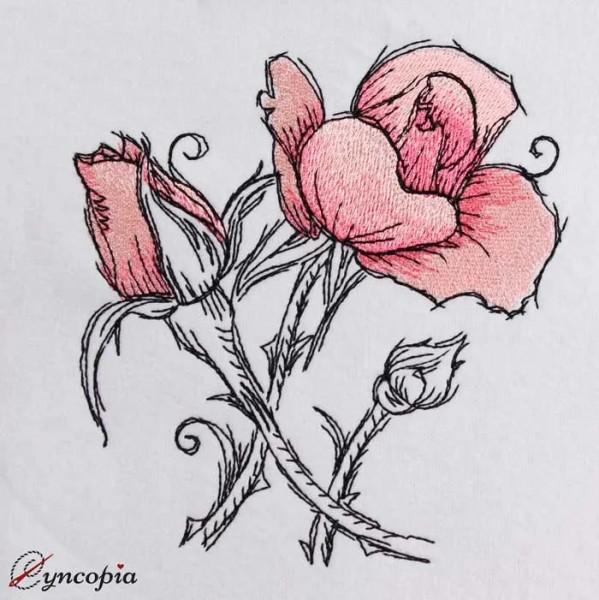 Stickdatei Rose romantic No 1