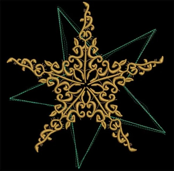 Embroidery Design Star Floral Ornament Doodle