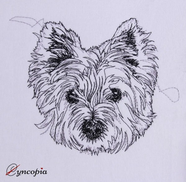 Embroidery Design West Highland White Terrier scribble