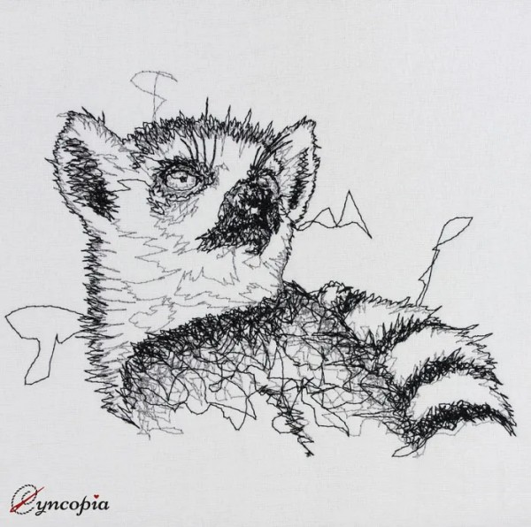 Embroidery Design Lemur Scribble