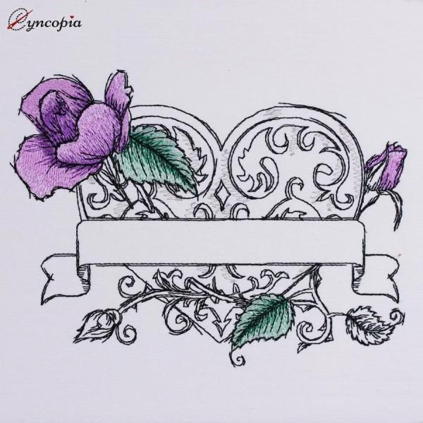 Motif de Broderie Rose Coeur blanco romantique