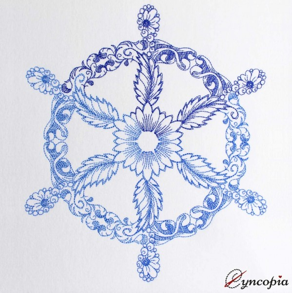 Embroidery Design Nautical Wheel Zendoodle